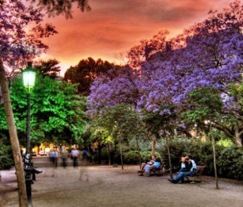 El Parque Güell al atardecer